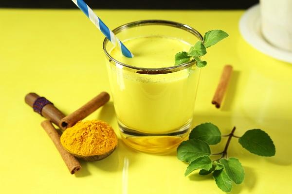 turmeric milk yellow table