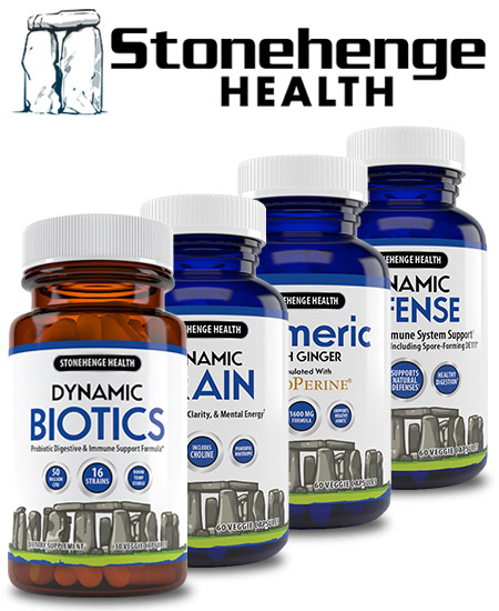 Stonehenge Health Logo and Products